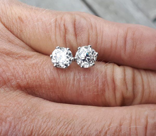 Old cut diamond stud earrings