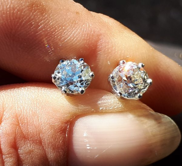 Old cut diamond earring
