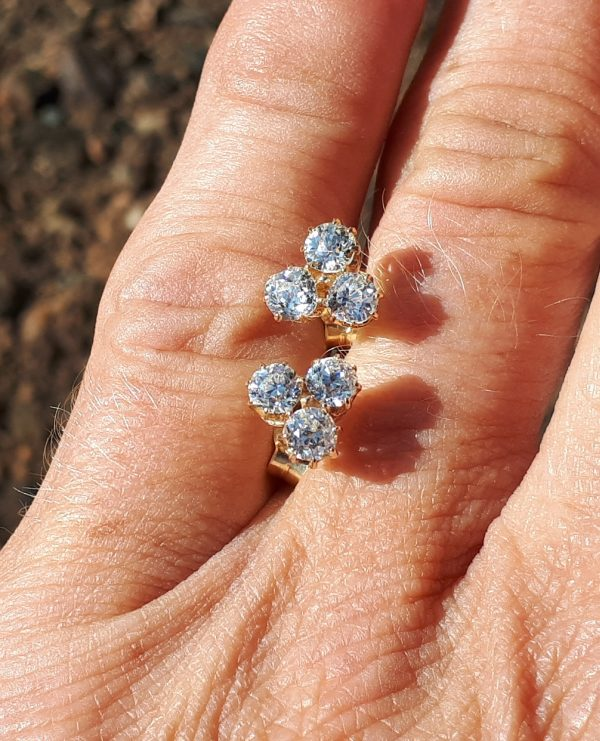 Old cut diamond 3 stone earrings