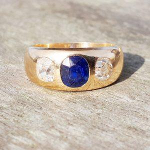 Gorgeous old cut diamond unisex gypsy ring