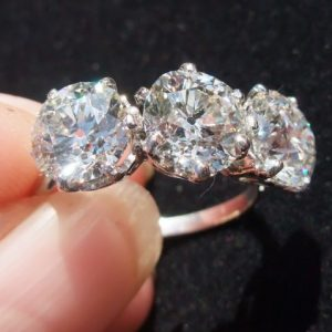5ct certified old cut diamond trilogy ring