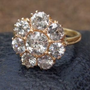 Old cut diamond cluster ring 2.50ct