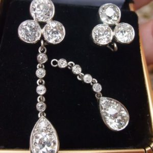 Night and day old cut diamond earrings 5.40ct