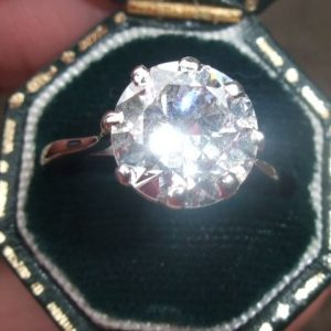 Huge 3.20 old cut diamond solitaire ring