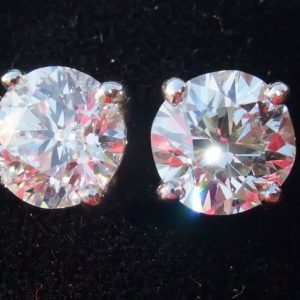 Superlative old cut diamond solitaire earrings 3.47CT