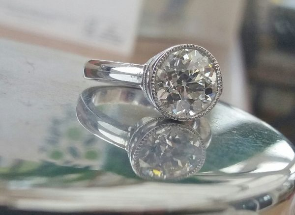 Handmade platinum old cut diamond ring