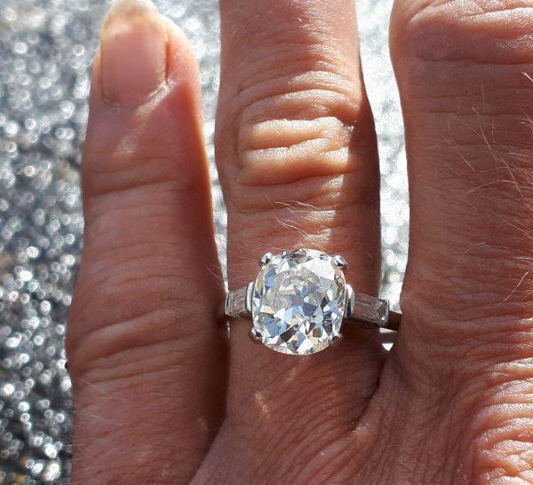Exceptional platinum 3.50ct solitaire ring