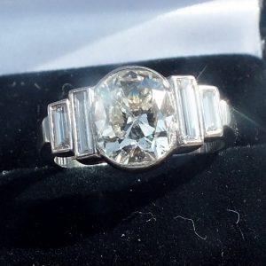 Old cut diamond art deco ring