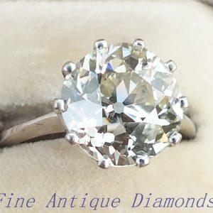 Rare antique old cut diamond solitaire ring 4ct