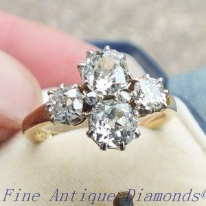 Old cut unusual diamond 4 stone ring
