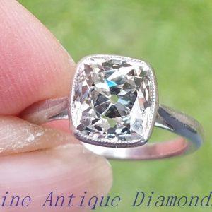 2.70ct antique cushion cut diamond ring