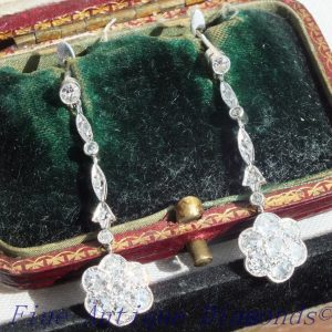 French platinum old cut diamond drop earrings