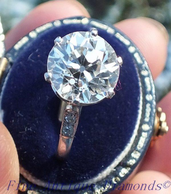 Original platinum 3.10 old cut diamond solitaire ring
