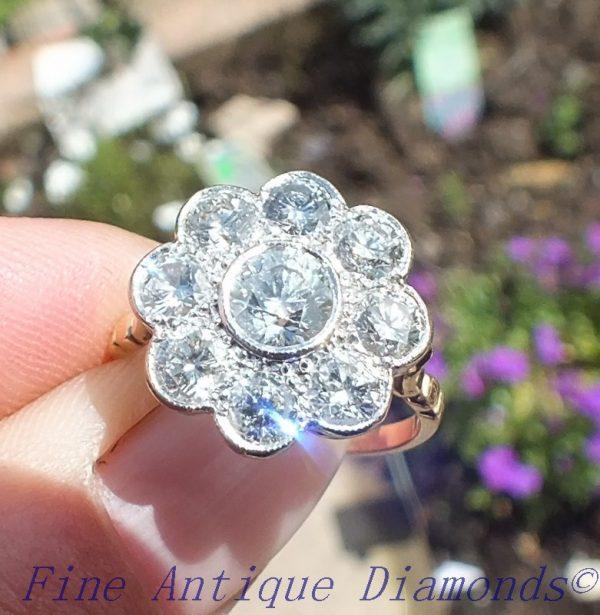 Vintage daisy diamond cluster ring