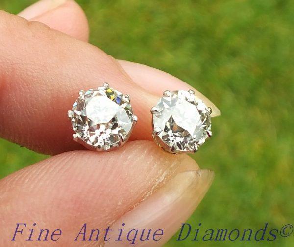 Certified 2.18ct old cut diamond stud earrings