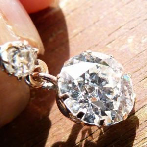 3.50ct old European cut diamond earrings