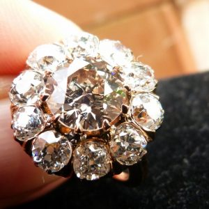 4.50ct victorian cluster diamond ring