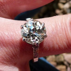 Wonderful 3.35ct old cut diamond solitaire ring