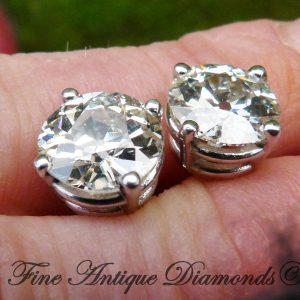 So rare 4.70ct old cut diamond solitaire stud earrings